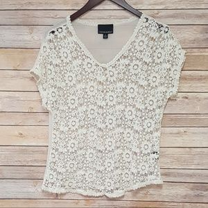 Cream Sheer Embroidered Blouse, Cute Summer Tops